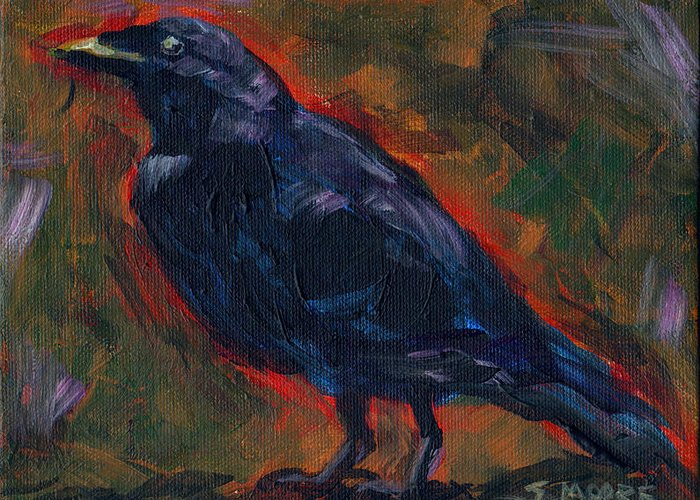 Black Bird Greeting Card featuring the painting Lisa's Blackbird by Susan Moore