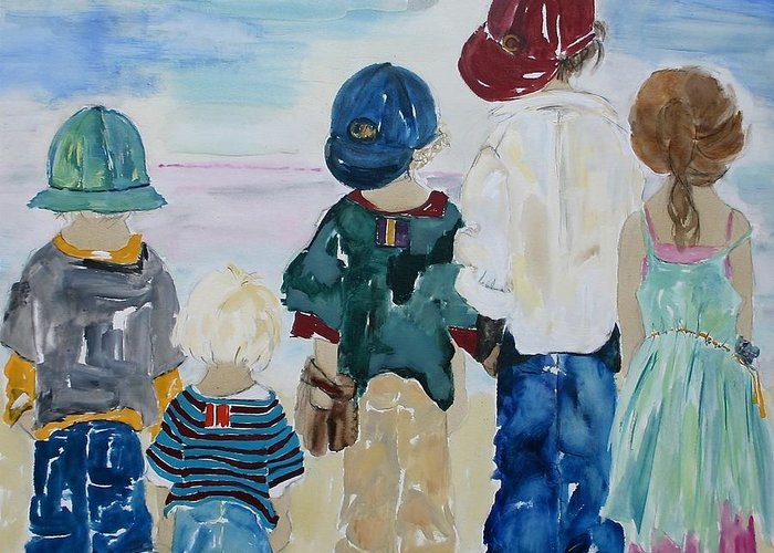 Vicki Aisner Porter Greeting Card featuring the painting Listen To The Day by Vicki Aisner Porter