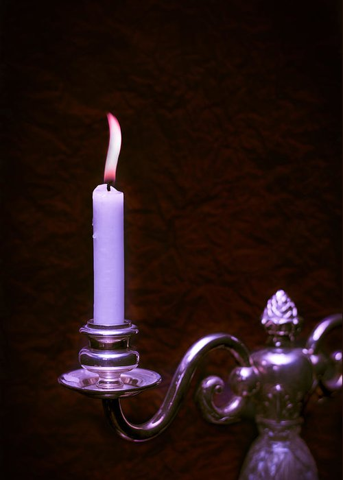 Lit Greeting Card featuring the photograph Lit Candle by Amanda Elwell