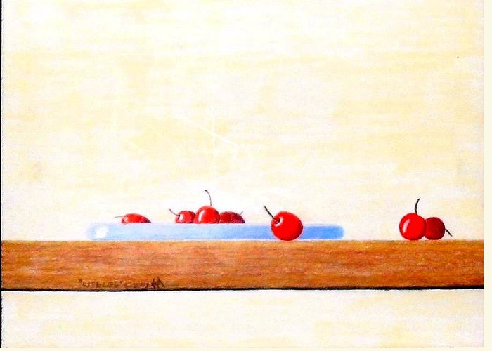 Cherries Greeting Card featuring the painting Lite Life by A Robert Malcom