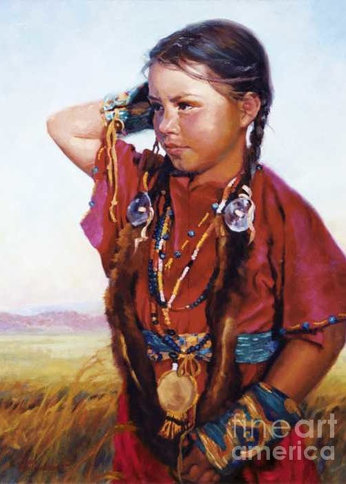 Indian Greeting Card featuring the painting Little American Beauty II by Jean Hildebrant