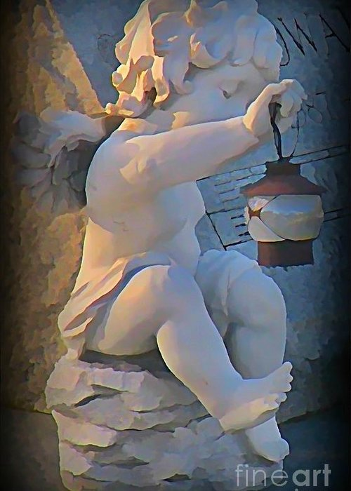 Angel Greeting Card featuring the digital art Little Angel With Lantern by John Malone