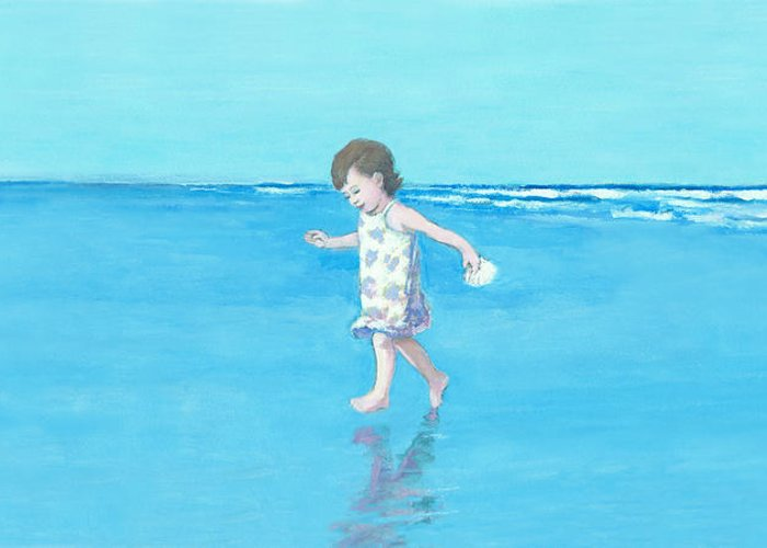 Beach Girl Greeting Card featuring the painting Little Beach Girl Panorama by J Reifsnyder