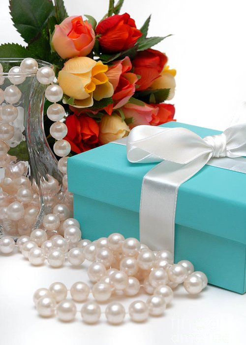 Anniversary Greeting Card featuring the photograph Little Blue Gift Box With Pearls And Flowers by Amy Cicconi