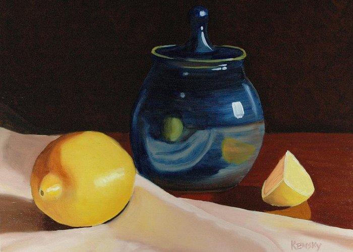 Lemon Greeting Card featuring the painting Little Blue Pot And Lemons Still Life by Daniel Kansky