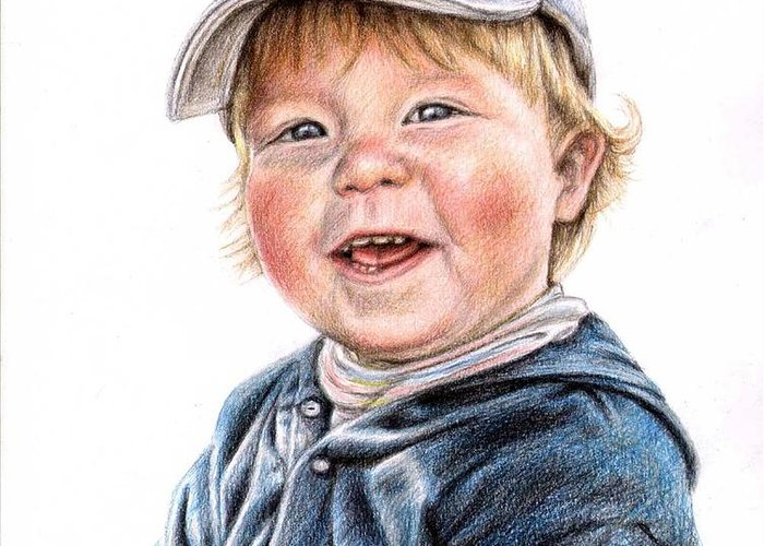 Boy Greeting Card featuring the drawing Little Boy by Nicole Zeug