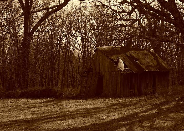 Greeting Card featuring the photograph Little Brown Shed by Mark Prewitt