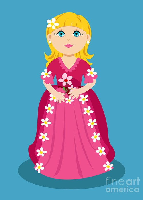 Cartoon Greeting Card featuring the digital art Little Cartoon Princess With Flowers by Sylvie Bouchard