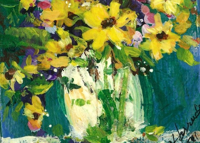 Daisies Greeting Card featuring the painting Little Daisies by Sherry Harradence