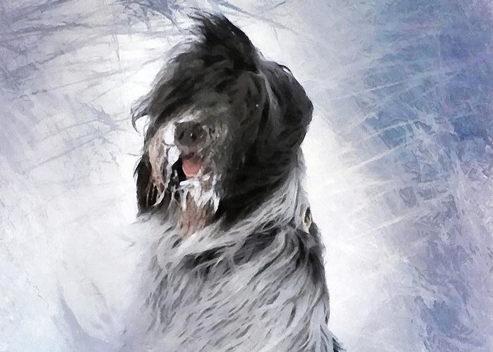 Animal Greeting Card featuring the digital art Little Doggie In A Snowstorm by Gun Legler