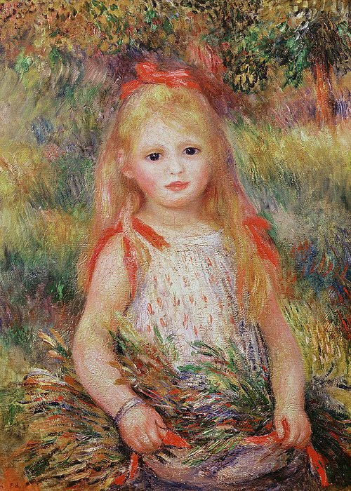 Child Greeting Card featuring the painting Little Girl Carrying Flowers by Pierre Auguste Renoir
