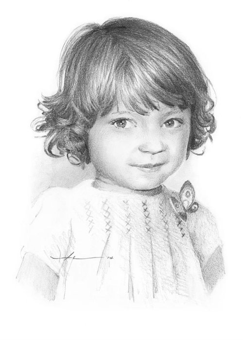 <a Href=http://miketheuer.com Target =_blank>www.miketheuer.com</a> Little Girl In Butterfly Dress Pencil Portrait Greeting Card featuring the painting Little Girl In Butterfly Dress Pencil Portrait by Mike Theuer
