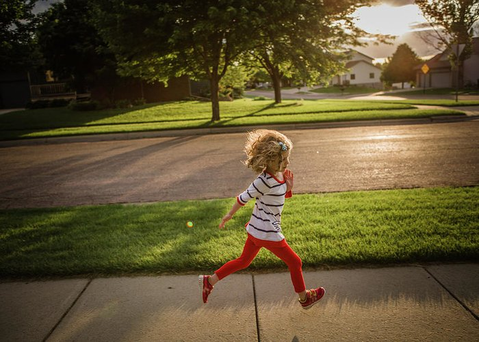 4-5 Years Greeting Card featuring the photograph Little Girl Running by Annie Otzen