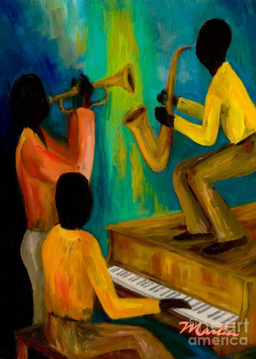 Jazz Greeting Card featuring the painting Little Jazz Trio I by Larry Martin