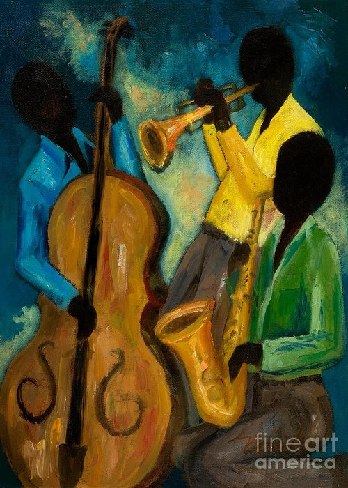 Jazz Greeting Card featuring the painting Little Jazz Trio IIi by Larry Martin