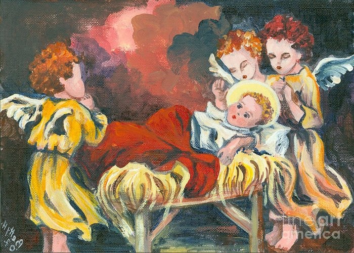 Christmas Greeting Cards Greeting Card featuring the painting Little Jesus And The Angels by Elisabeta Hermann