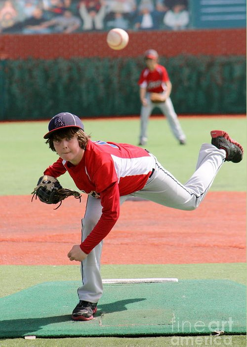Baseball Greeting Card featuring the photograph Little League Pitcher by Lisa Billingsley
