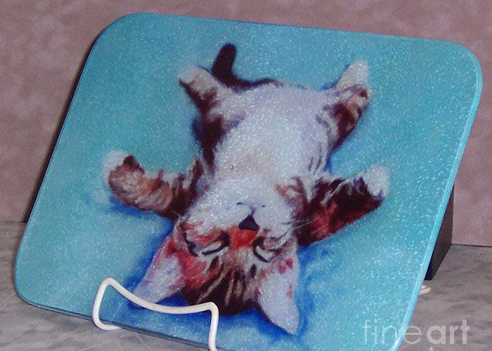 Cutting Boards Greeting Card featuring the painting Little Napper Cutting And Serving Board by Pat Saunders-White
