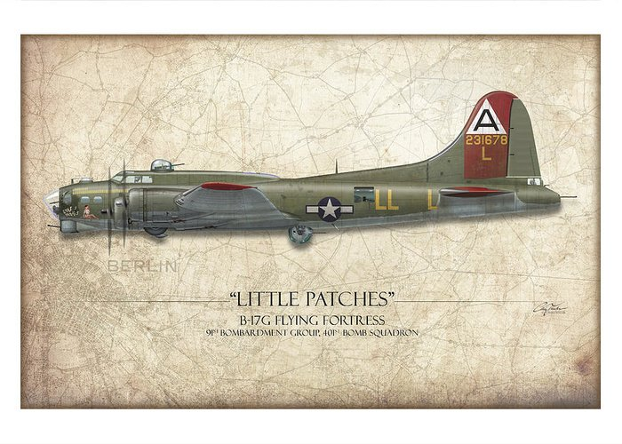 Aviation Greeting Card featuring the painting Little Patches B-17 Flying Fortress - Map Background by Craig Tinder