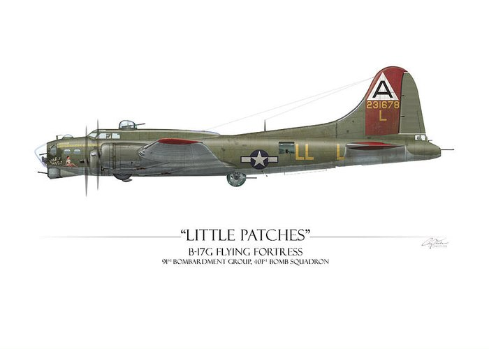 Aviation Greeting Card featuring the digital art Little Patches B-17 Flying Fortress - White Background by Craig Tinder