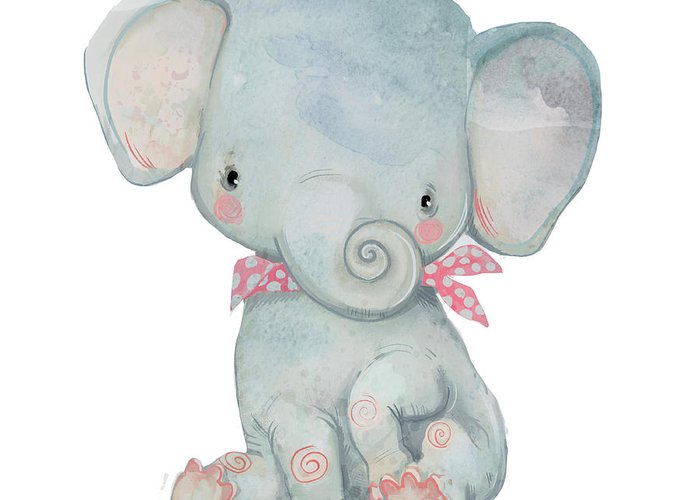 Watercolor Painting Greeting Card featuring the digital art Little Pocket Elephant by Cofeee