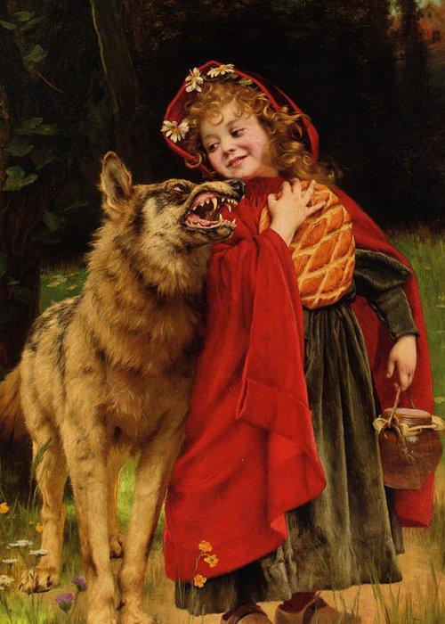 Gabriel Joseph Marie Augustin Ferrier Greeting Card featuring the digital art Little Red Riding Hood by Gabriel Joseph Marie Augustin Ferrier