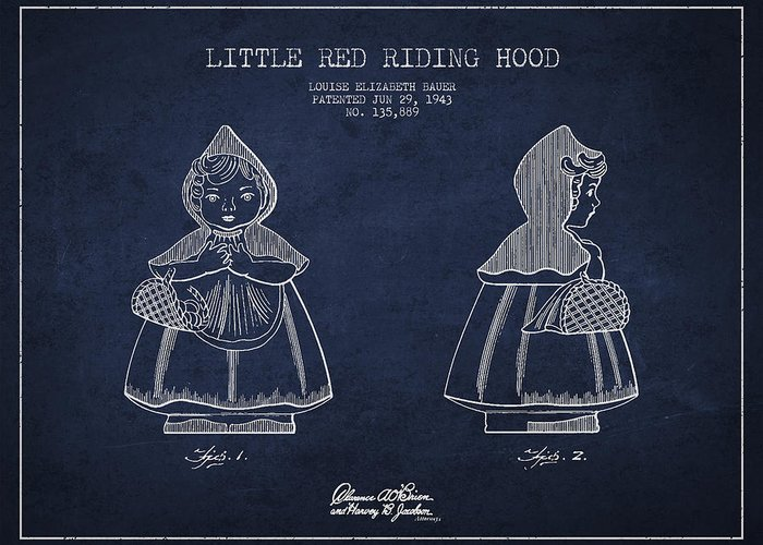 Little Red Riding Hood Greeting Card featuring the drawing Little Red Riding Hood Patent Drawing From 1943 by Aged Pixel