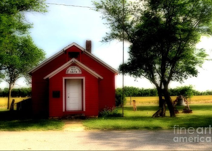 Red Greeting Card featuring the photograph Little Red School House by Kathleen Struckle