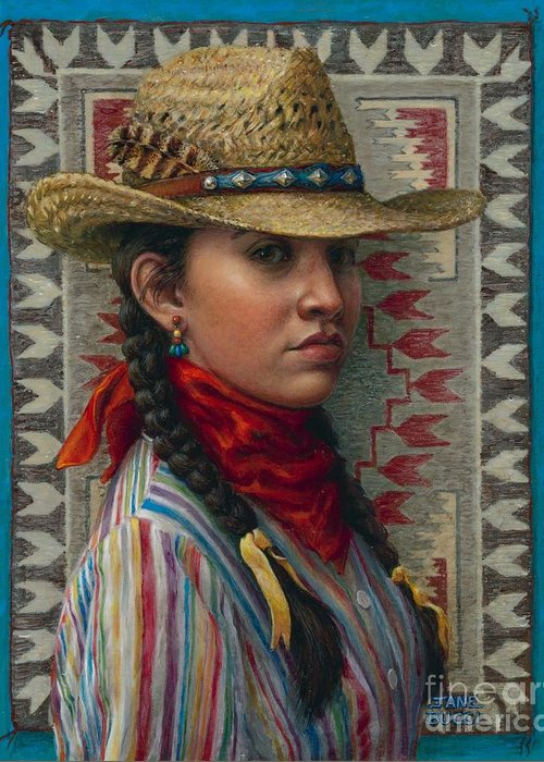 Woman Greeting Card featuring the painting Little Rising Hawk by Jane Bucci