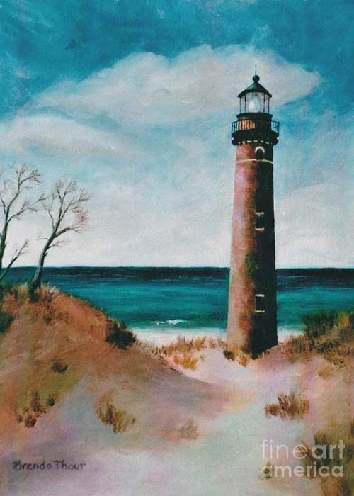 Lighthouse Greeting Card featuring the painting Little Sable Point Light by Brenda Thour