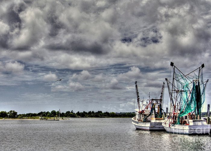 Swansboro North Carolina Greeting Card featuring the photograph Little Shrimpers  by Benanne Stiens