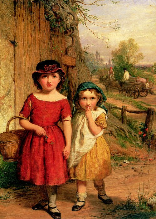 Girl Greeting Card featuring the painting Little Villagers by George Smith