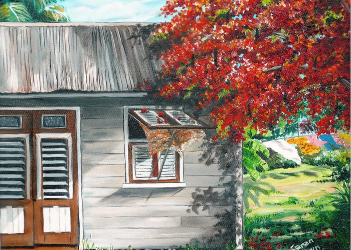Caribbean Painting Typical Country House In The Caribbean Or West Indian Islands With Flamboyant Tree Tropical Painting Greeting Card featuring the painting Little West Indian House 1 by Karin Dawn Kelshall- Best
