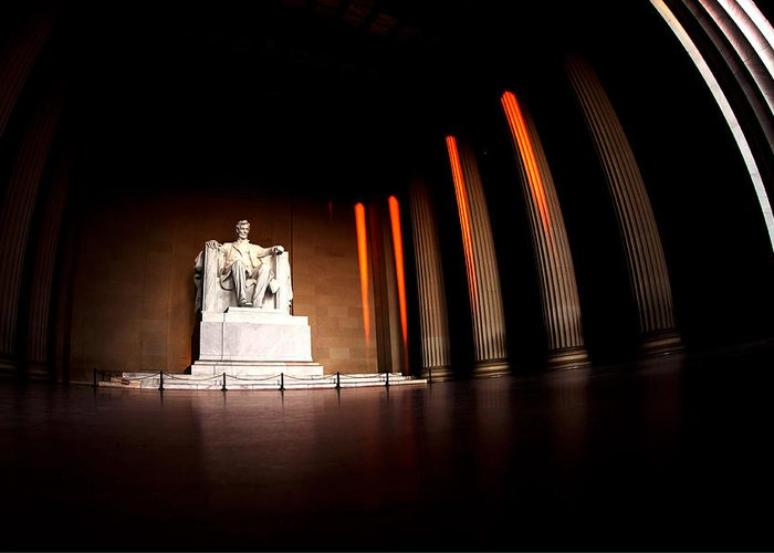 Lincoln Memorial Greeting Card featuring the photograph Live By The Light by Mitch Cat