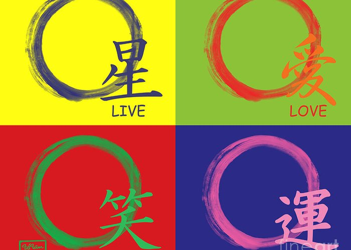 Live Greeting Card featuring the painting Live Laugh Love Luck by To-Tam Gerwe