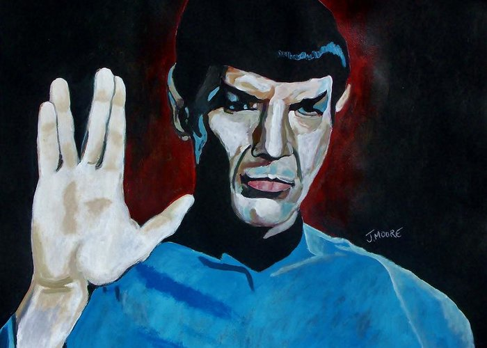 Spock Greeting Card featuring the painting Live Long And Prosper by Jeremy Moore