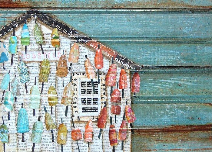 Lobster Shack Greeting Card featuring the mixed media Lively Lives by Danny Phillips