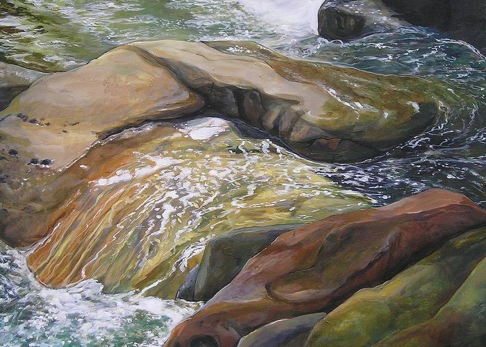 Water Greeting Card featuring the painting Living Water by Denise Ivey Telep