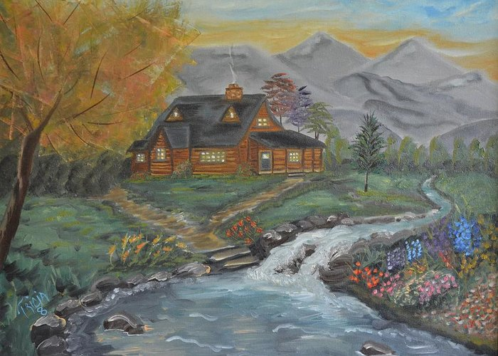 Water Greeting Card featuring the painting Living Waters by Tricia Concienne