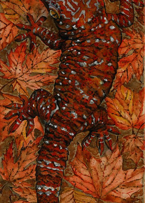 Lizard Greeting Card featuring the painting Lizard In Red Nature - Elena Yakubovich by Elena Yakubovich