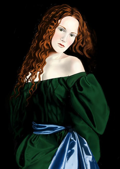Lizzie Siddal Greeting Card featuring the digital art Lizzie Siddal by Andrew Harrison