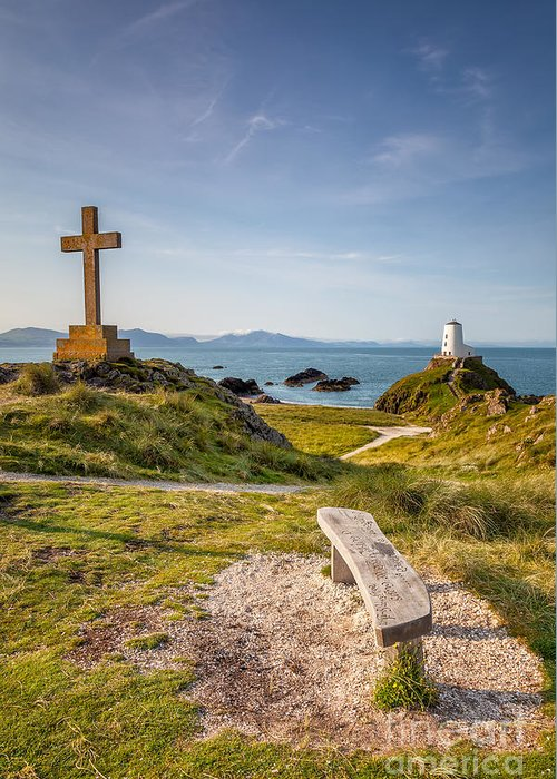 Anglesey Greeting Card featuring the photograph Llanddwyn Island Bench by Adrian Evans