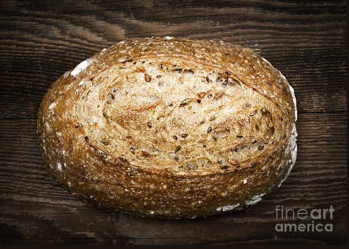 Bread Greeting Card featuring the photograph Loaf Of Multigrain Artisan Bread by Elena Elisseeva