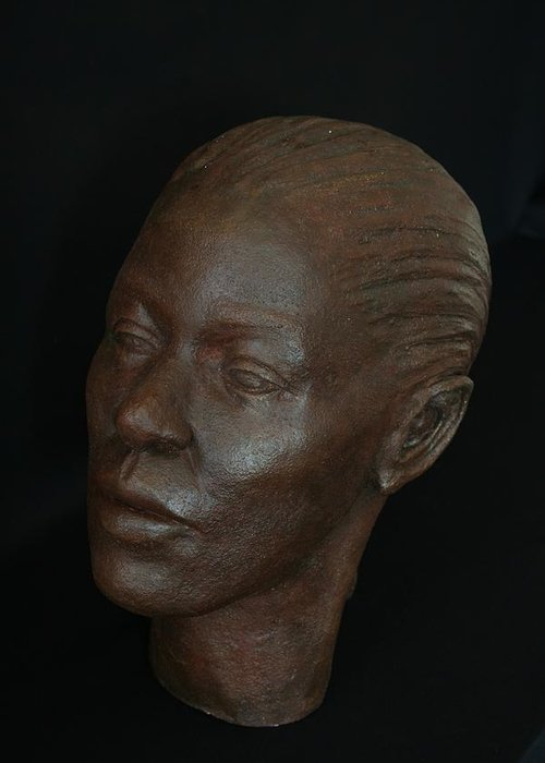 Portrait Sculpture Greeting Card featuring the sculpture Loanna by Flow Fitzgerald