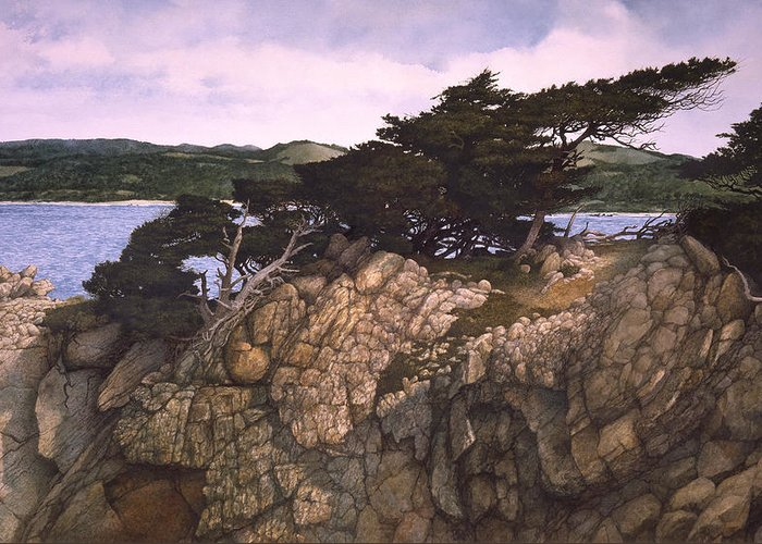 Seascape Greeting Card featuring the painting Lobos Lookout by Tom Wooldridge