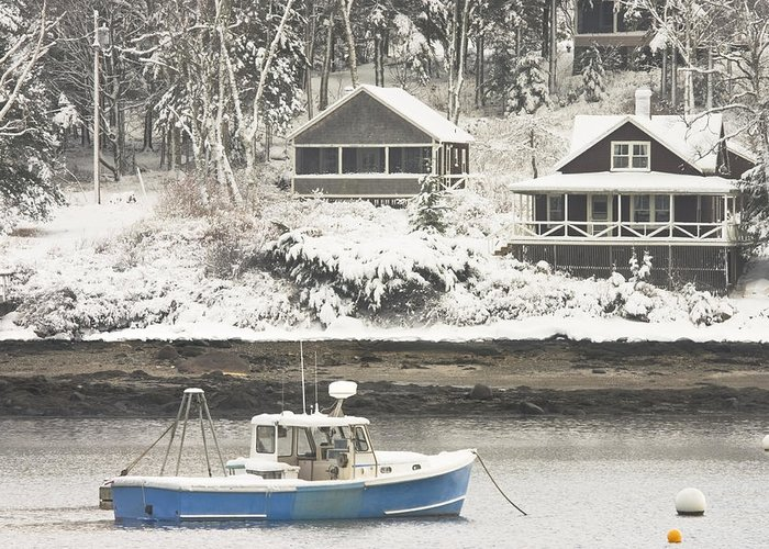 Tenants Harbor Greeting Card featuring the photograph Lobster Boat After Snowstorm In Tenants Harbor Maine by Keith Webber Jr
