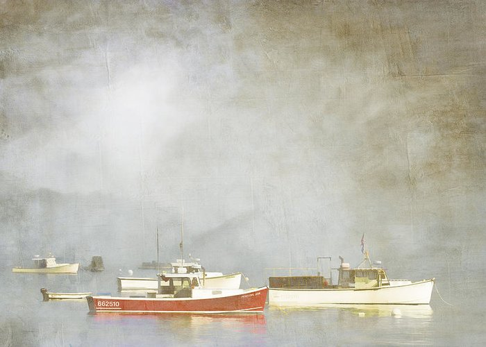 Boat Greeting Card featuring the photograph Lobster Boats At Anchor Bar Harbor Maine by Carol Leigh
