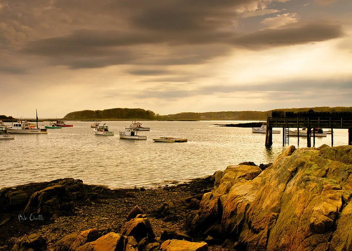 Atlantic Ocean Greeting Card featuring the photograph Lobster Boats Cape Porpoise Maine by Bob Orsillo