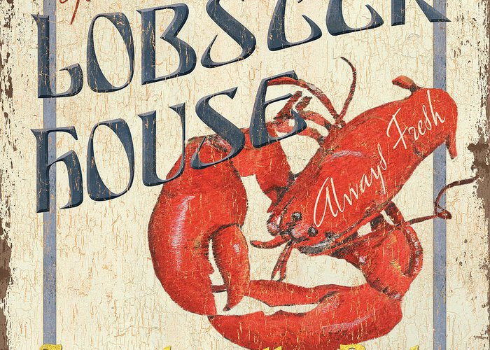 Lobster Greeting Card featuring the painting Lobster House by Debbie DeWitt