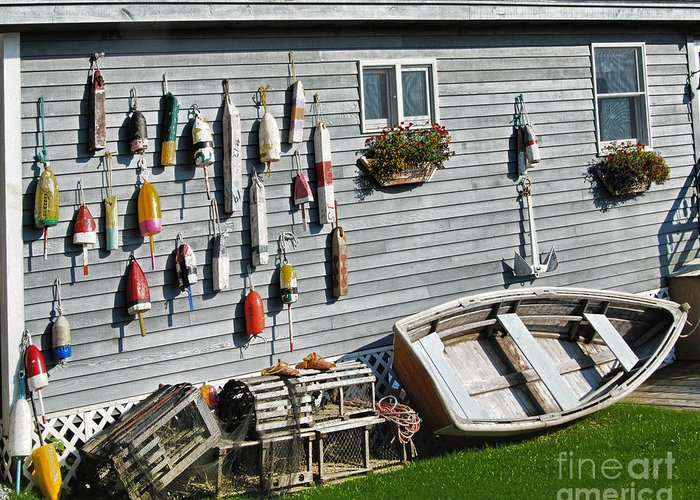 Lobster Pots And Buoys Greeting Card featuring the photograph Lobster Pots And Buoys by Phyllis Taylor